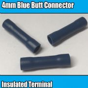 Blue Butt Connector Insulated Electrical 4mm Crimp Terminals Cable Wire